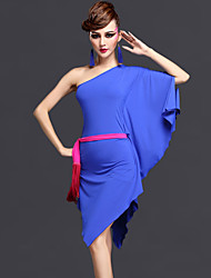 Latin Dance Outfits Women's Performance Rayon / Chinlon 3 Pcs Black / Dark Purple / Royal Blue Half Sleeve Dress / Belt