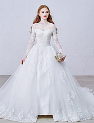 Ball Gown Wedding Dress Floral Lace Chapel Train Bateau Lace Tulle with Appliques Button Lace