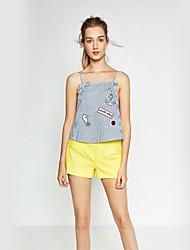 Damen Gestreift / Stickerei Einfach Lässig/Alltäglich T-shirt,Gurt Sommer Ärmellos Blau Baumwolle Dünn