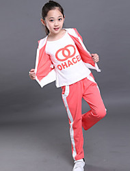 Girl's Cotton Spring/Autumn Tracksuit Fashion Hoodies Sweatshirt Kids Three-piece Set