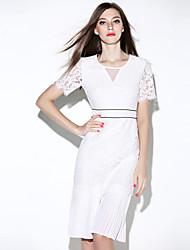 i-yecho Frauen einfachen Patchwork Kleid, V-Ausschnitt knielangen Polyester