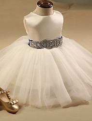 Ball Gown Short / Mini Flower Girl Dress - Satin Sleeveless Jewel with Sash / Ribbon