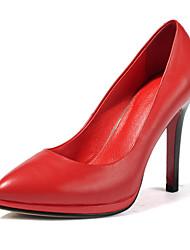 Damen-High Heels-Lässig-Leder-Stöckelabsatz-Spitzschuh-Schwarz / Rot
