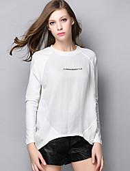 AJIDUO® Femme Col Arrondi Manche Longues T-shirt Blanc-A9219