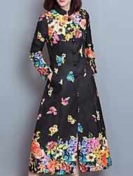 Trench Femme,Fleur Décontracté / Quotidien simple Manches Longues Mao Noir Polyester Moyen Hiver