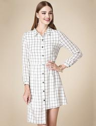 Feminino Camisa Vestido,Casual Simples Xadrez Colarinho de Camisa Assimétrico Manga Longa Branco Algodão Outono Cintura AltaSem