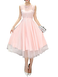 Mulheres Swing Vestido,Festa/Coquetel / Tamanhos Grandes Sensual Sólido Decote Redondo Médio Sem Manga Rosa / Preto Poliéster Verão