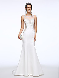 LAN TING BRIDE Trumpet / Mermaid Wedding Dress See-Through Sweep / Brush Train Bateau Satin with Appliques Beading Button