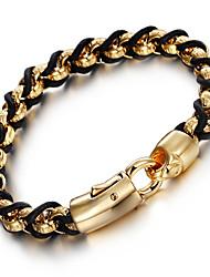 Homens Pulseiras em Correntes e Ligações Moda bijuterias Aço Inoxidável Pele 18K ouro Forma Geométrica Jóias Para Festa Aniversário