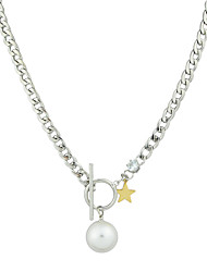 New Silver Color Chain Imitation Pearl Pendant Necklace