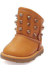 Girl's Boots Fall / Winter Snow Boots Leatherette Outdoor / Casual Flat Heel Rivet Red / White / Khaki Snow Boots