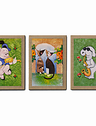 Oil Painting Modern Abstract Cartoon Animal Set of 3 Hand Painted Natural Canvas With Stretched Frame