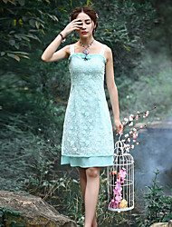 Our Story Going out Vintage Sheath DressEmbroidered Strap Knee-length Sleeveless Green Polyester Summer