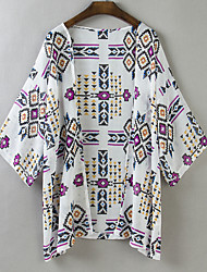 Women's Casual/Daily Simple Summer / Fall Jackets,Print Cowl Short Sleeve White Polyester Thin