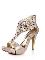 Damen-High Heels-Kleid / Lässig-Kunststoff-Blockabsatz-Absätze-Schwarz / Gold