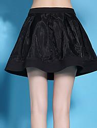 De las mujeres Faldas-Sobre la rodilla Simple Microelástico-Poliéster / Nailon