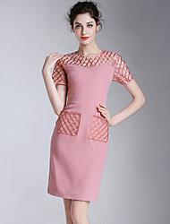 Eosciy® Damen Rundhalsausschnitt Kurze Ärmel Über dem Knie Kleid-52004