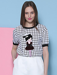 I'HAPPY Women's Going out Cute Summer T-shirtCheck Round Neck Short Sleeve Black Polyester / Spandex Opaque