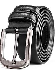 Men's Silver Belt Buckle Casual Pants Jeans Black Leather Waist Belt Straps
