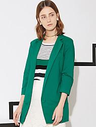 Feminino Blazer Trabalho Simples Primavera / Outono,Sólido Azul / Branco / Verde Algodão / Poliéster / Elastano Lapela Chanfrada Manga ¾
