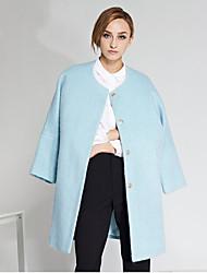 c + impressionar as mulheres de sair médio coatsolid simples bloco / cor em torno do pescoço de manga longa azul do inverno lã / poliéster