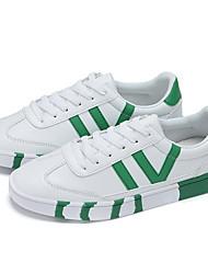 Primavera dos homens Athletic Shoes / cair conforto pu ocasional calcanhar plana preto sapatilha / verde / vermelho