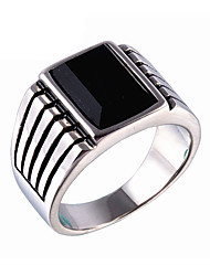 Men's Fashion Simple Style Vintage 316L Titanium Steel Personality Gem Statement Rings Casual/Daily Accessory