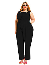 Women's Wild Fashion Round Collar Solid Sleeveless Loose Pants Plus Size Fat Jumpsuits