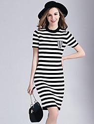 Eosciy Women's Crew Neck Short Sleeve Knee-length Dress-80305