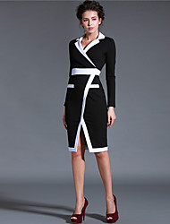 Baoyan Women's V Neck Long Sleeve Knee-length Dress-14658