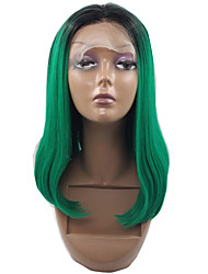 Straight Dark Roots Ombre Green Wigs Heat Resistant Lace Front Wig Ombre Green Synthetic Lace Front Wigs For Black Women