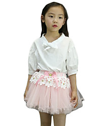 Girl's Casual/Daily Solid DressPolyester Summer Blue / Pink / White