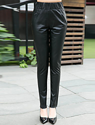 Women's Solid Black Skinny Leather Pants 5516