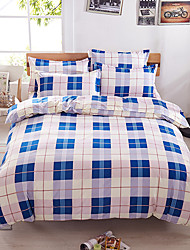 Bedtoppings Comforter Duvet Quilt Cover 4pcs Set Queen Size Flat Sheet Pillowcase Blue Cheque Pattern Prints Microfiber