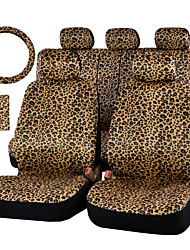 AUTOYOUTH Luxury Leopard Print Car Seat Cover and 15 Universal Steering Wheel Car Seat Protector