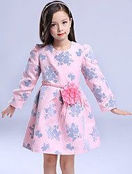 Girl's Casual/Daily Floral DressCotton / Polyester Winter / Fall Pink