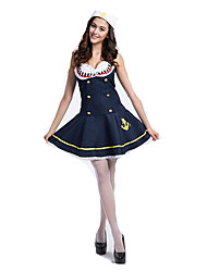Cosplay Costumes Party Costume Soldier/Warrior Sailor/Navy Career Costumes Festival/Holiday Halloween Costumes Navy Color Block Skirt Hats