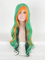 mulheres multi-cor verde moda perucas sintéticas onda longa cosplay perucas