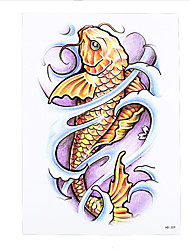 1pc Women Men Waterproof Temporary Body Art Tattoo Sticker Beauty Gold Fish Carp Pattern Tattoo Sexy Product HB-309