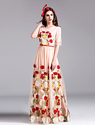 Boutique S Women's Going out Sophisticated Swing DressFloral Round Neck Maxi  Length Sleeve Beige / Black Polyester Fall