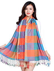 National Wind Jacquard Fringed Plaid Printing Color Printing Embroidery Cotton Shawl Scarf Oversized Travel Scarves