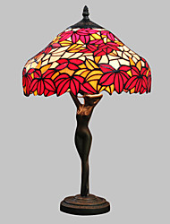 60W Colorful Pretty Table Lamp Patterned With Red Leaf-Goddess Body Pole