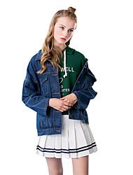 Linjou Women's Going out Simple Winter Denim JacketsSolid Shirt Collar Long Sleeve Blue Cotton Medium