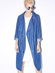 novo antes mulheres saindo Spring Street trincheira chique coatsolid entalhe lapela manga / cair algodão azul opaco