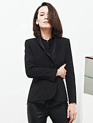 c + impressionar o trabalho das mulheres simples todas as estações blazersolid xaile lapela de manga comprida de poliéster preto opaco