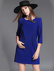 Women's Going out Street chic Sheath DressSolid / Letter Round Neck Above Knee  Sleeve Blue / Black  PLUS SIZE