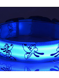 Nylon LED Dog Collar Print Dog Picture 6 Colors to Choose Dog  Collars  Free Shipping 1pcs/6Color/4Size  S M L XL