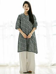 Ample Robe Femme Décontracté / Quotidien Chinoiserie,Fleur Col Arrondi Mi-long ½ Manches Gris Coton / Lin Printemps / Eté Taille Normale