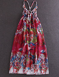 Boutique S  Beach / Holiday Sexy Loose DressFloral Strap Maxi Sleeveless Red Silk / Polyester Summer High Rise