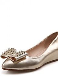 Damen-High Heels-Hochzeit Outddor Büro Kleid Lässig Party & Festivität-Leder Kunstleder-Flacher Absatz-Pumps Neuheit-Rot Gold
